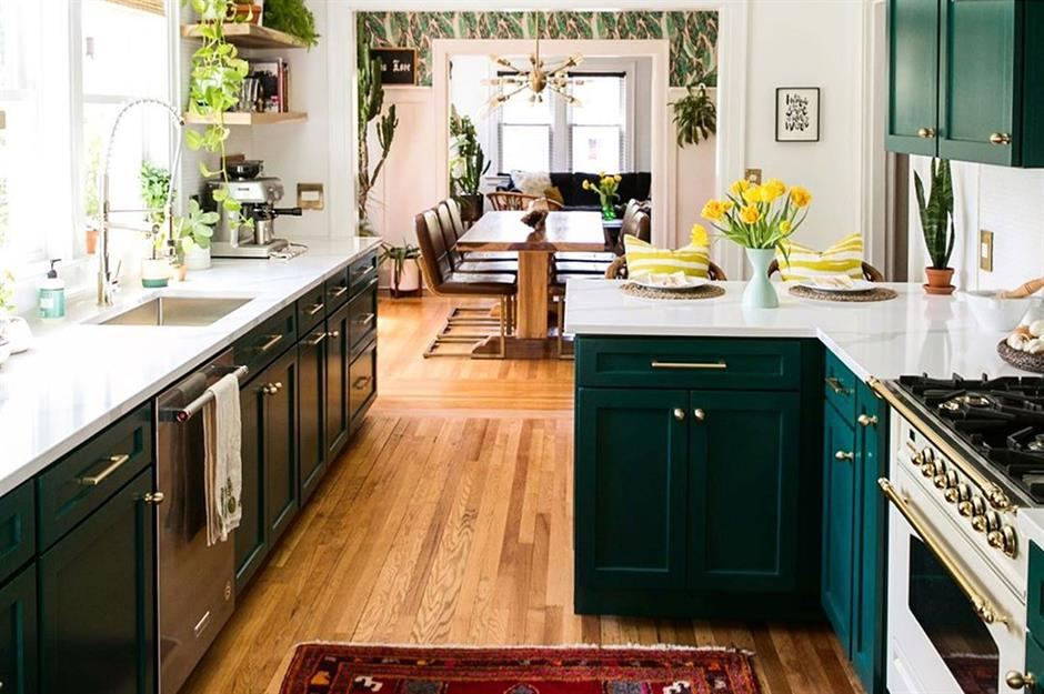 lovely emerald green kitchen cabinets | 20 awe-inspiring real kitchens – and how to steal their ...