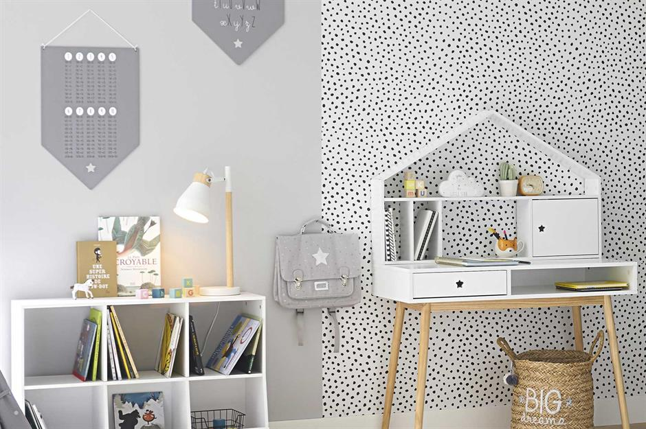Grey bedroom with house shaped desk - maisons du monde - Home school ideas