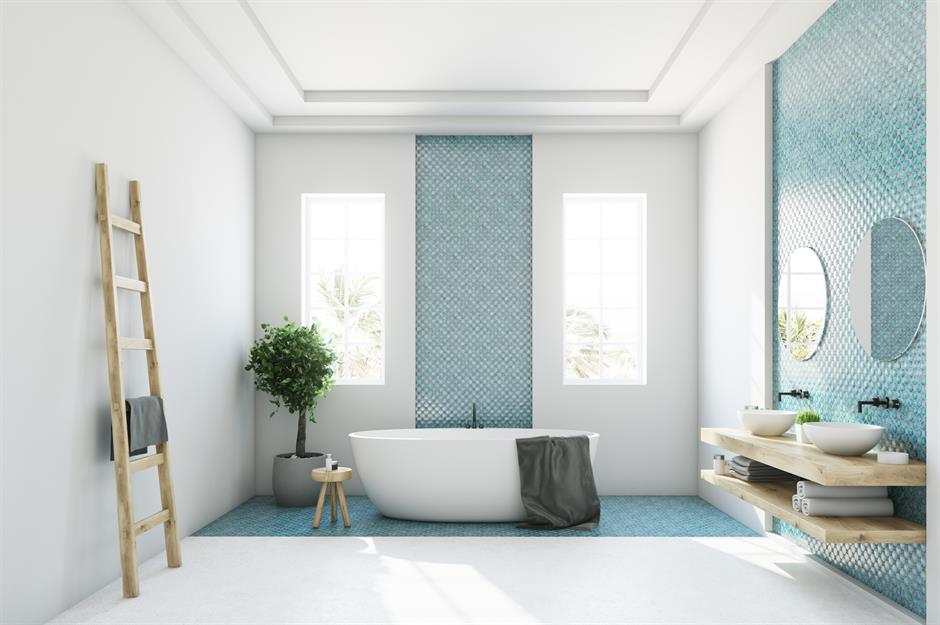 Shutterstock. Additional Aqua Tiles Give This White Bathroom ...
