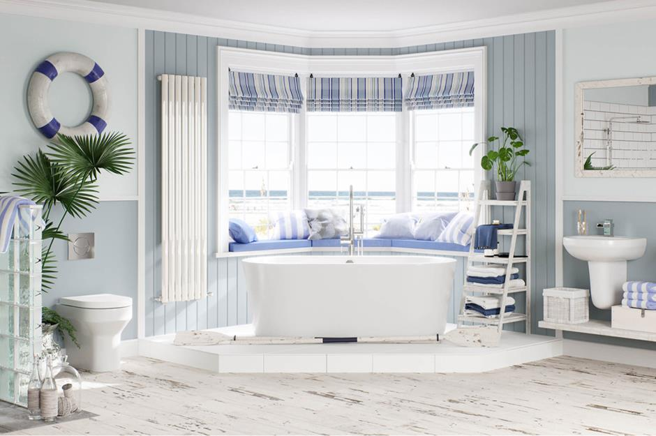 Coastal Bathroom With White Bathroom Suite And Blue And White Stripes