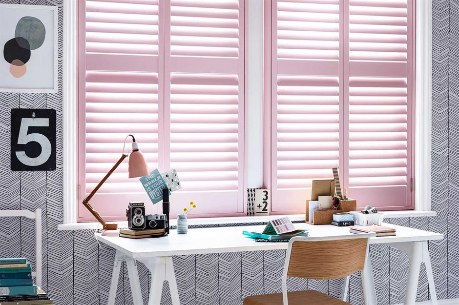 Modern desk wiht shutters - California Shutters - Home school ideas