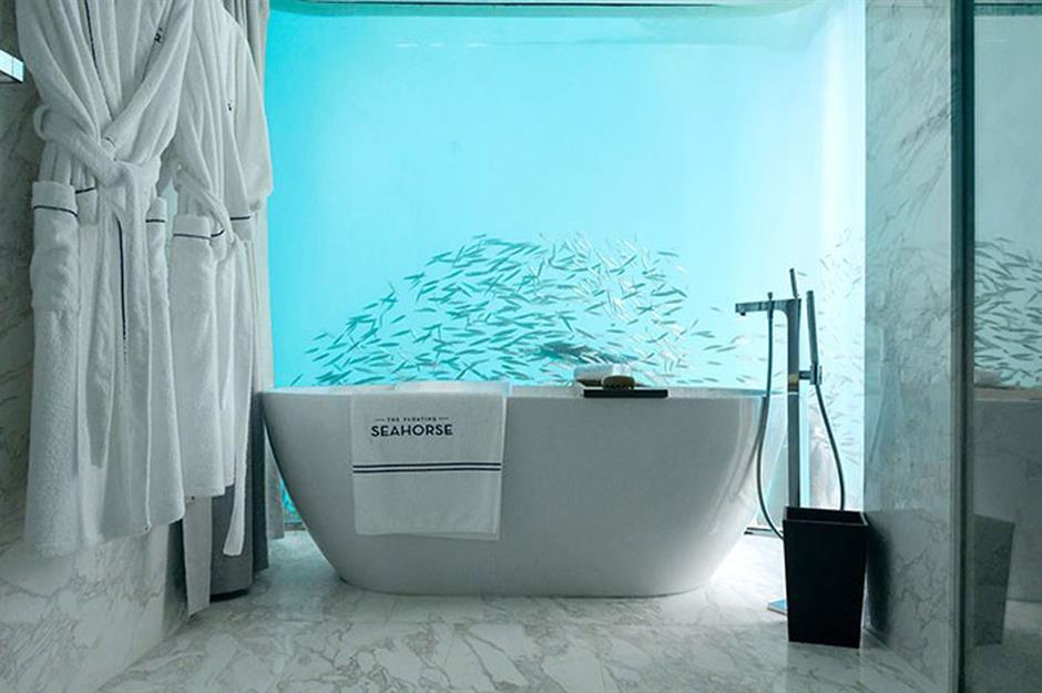 Underwater Bathroom Floating Seahorse Villa Dubai