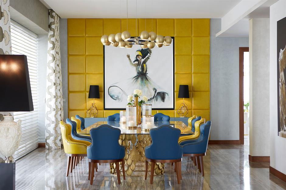 Brabbu Design Forces Yellow And Blue Dining Room Ideas
