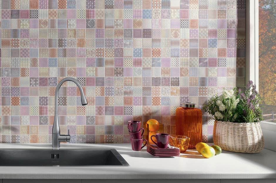 Pretty pink patchwork tiles & Kitchen wall tiles: Ideas for every style and budget | loveproperty.com