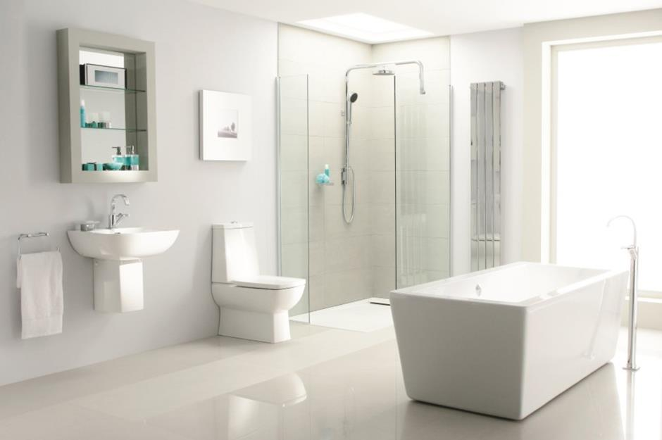 Minimal White Bathroom With Modern Suite