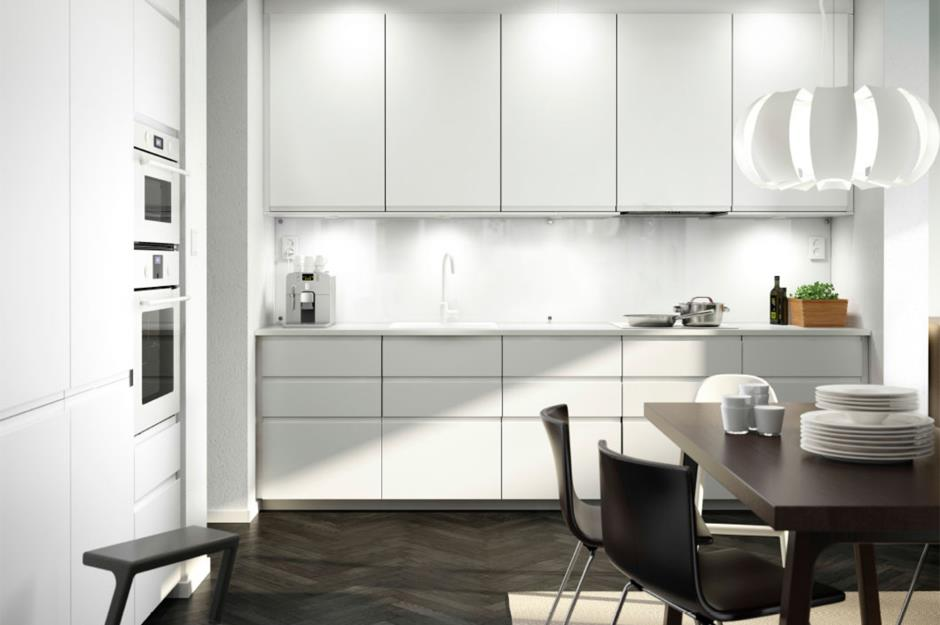 Charmant A White IKEA Kitchen With Layered Lighting