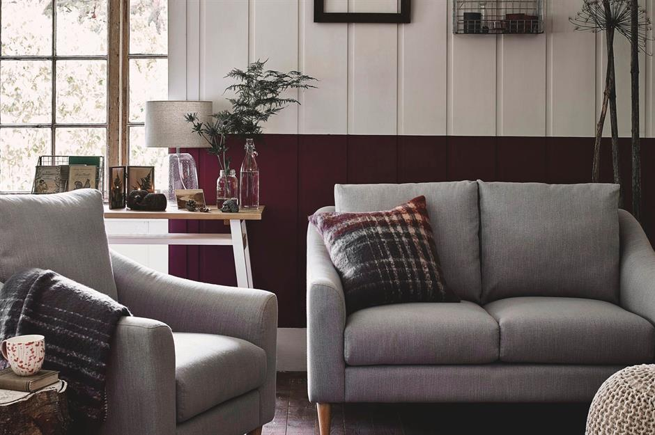 Two toned living room with cabint style - Argos  - cosy autumn decorating ideas