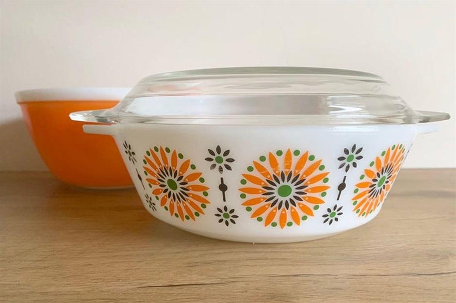 Striped Country Kitchen Ceramic Butter Serving Storage Dish with Wooden Lid