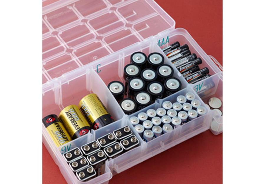 Store Unpackaged Batteries In A Tackle Box
