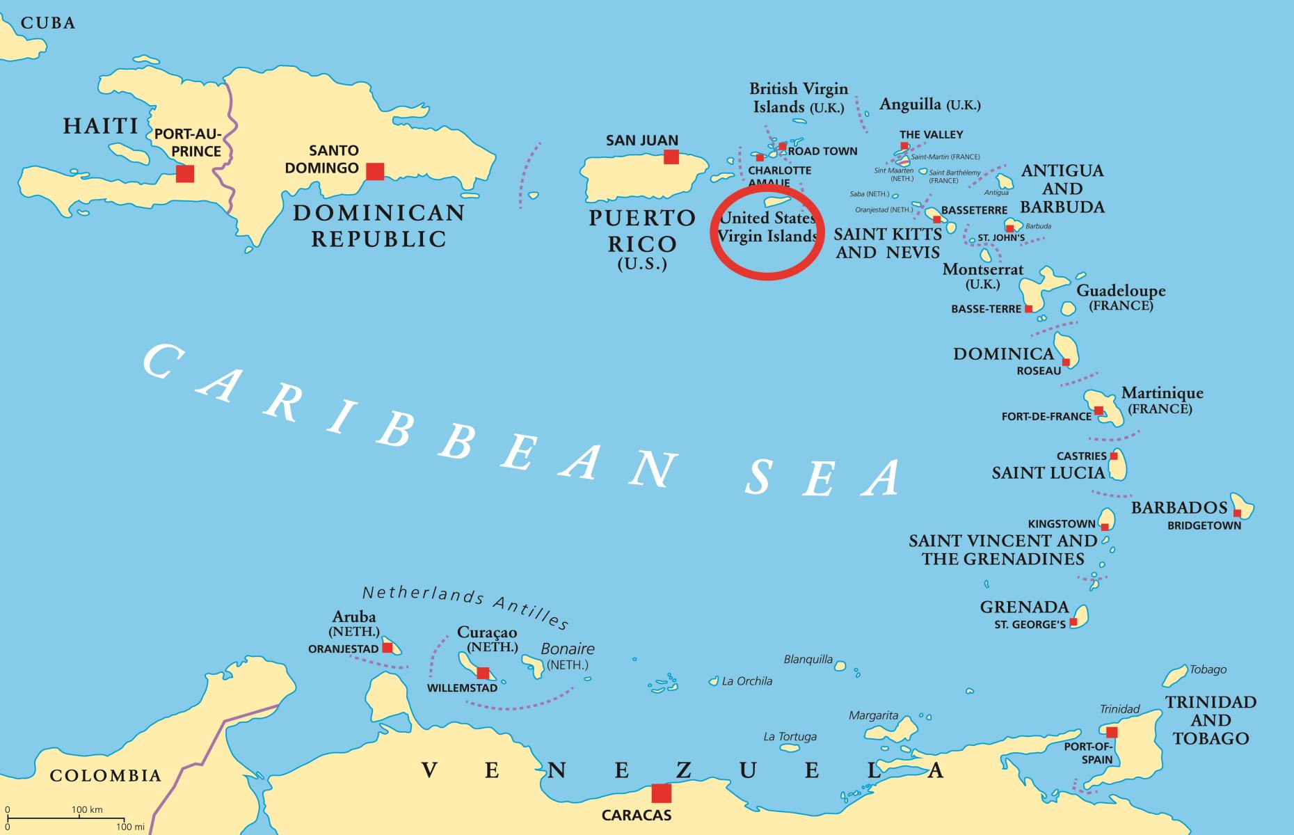 American Islands That Arent In North America - Aruba on map compared to the us