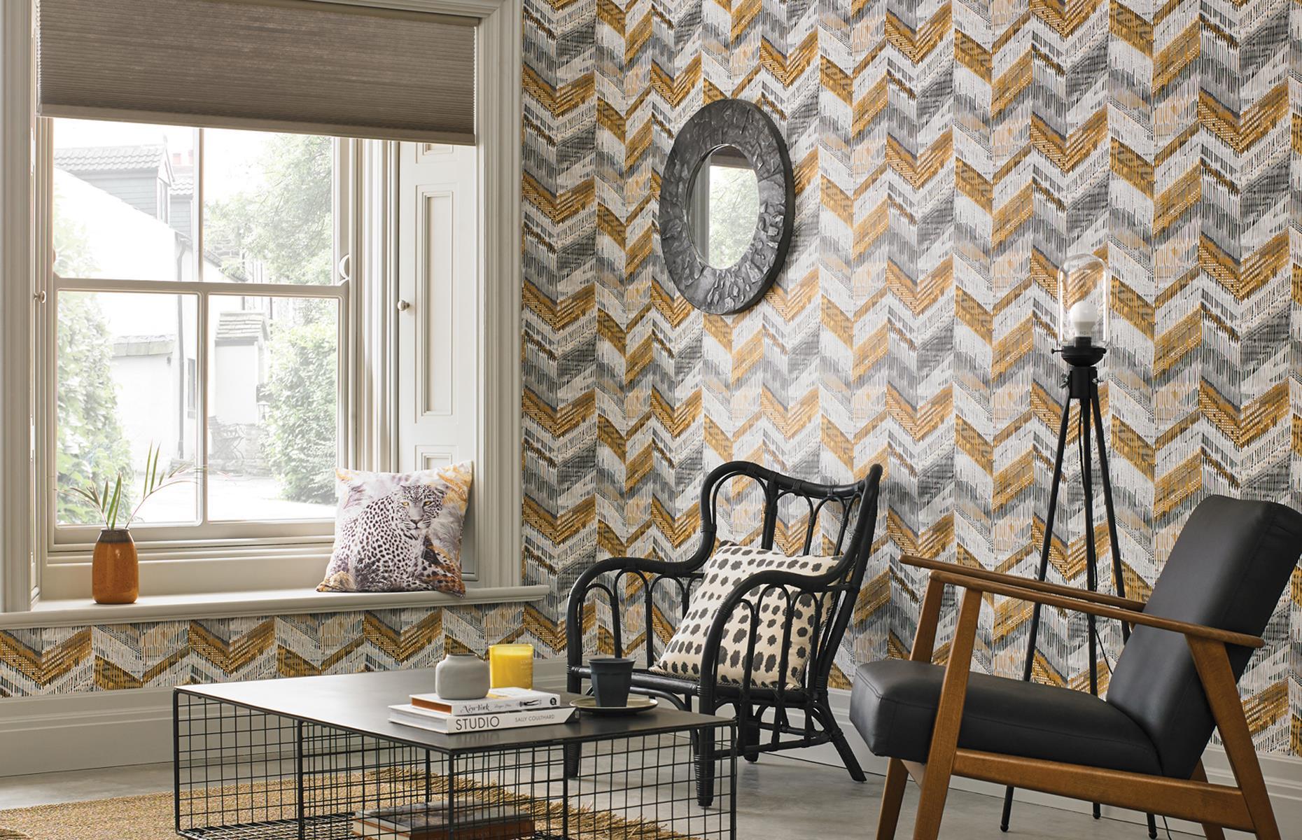 Living Room Grey And Ochre Wallpaper