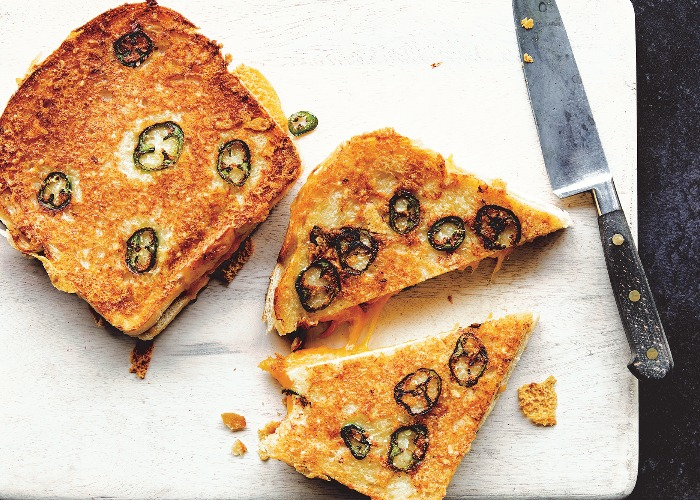 Jalapeño, cheddar and parmesan cheese toasties recipe