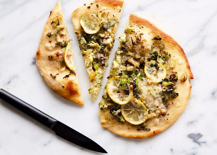 Vegan pizza with lemon and Brussels sprouts recipe