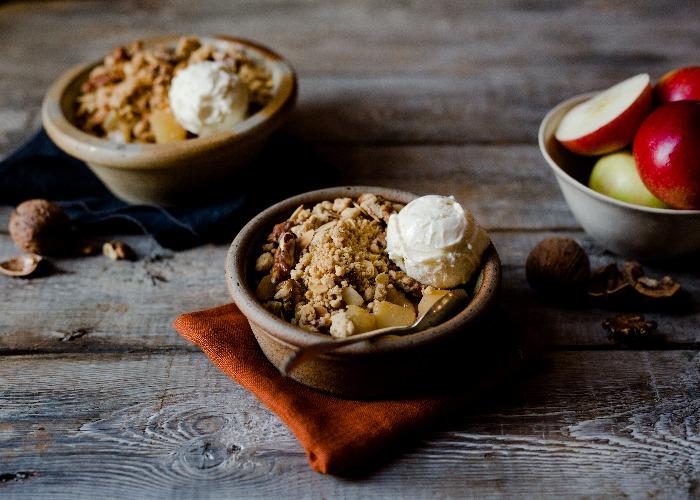 Plum and apple crumble recipe