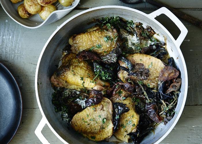 Pot Roasted Guinea Fowl With Wild Mushrooms Prunes Thyme Recipe