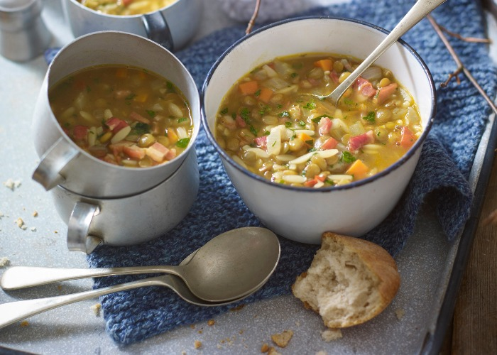 Winter soup with bacon, lentil and pasta recipe