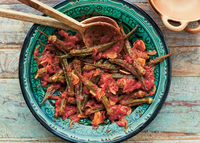 Roast okra with spicy tomatoes recipe