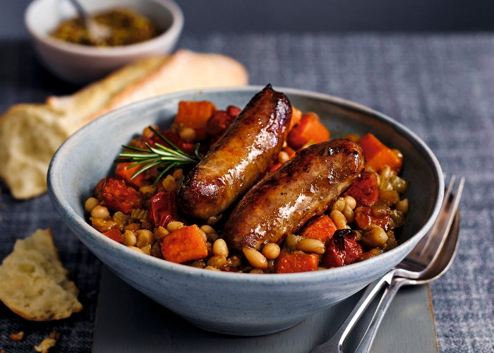 Sticky sausage and bean stew recipe