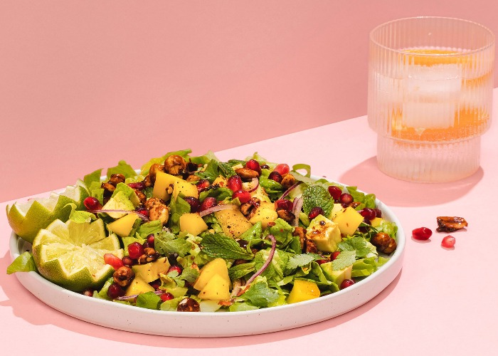 Mango salad with candied peanuts recipe