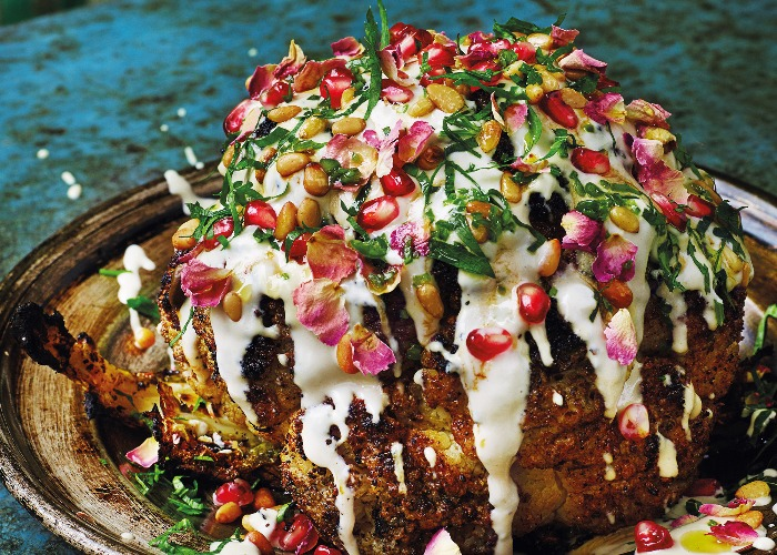 Roasted cauliflower shawarma with pomegranate and tahina