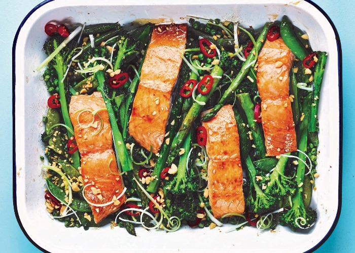 Sticky soy and honey roasted salmon with greens recipe
