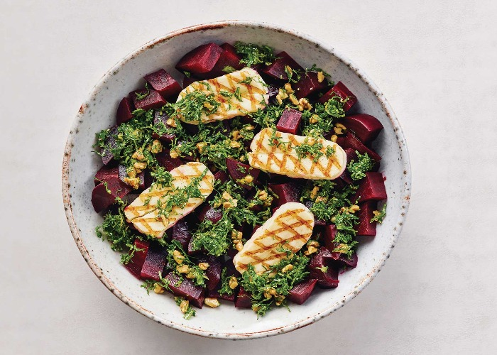 Roasted beetroot with grilled halloumi and gremolata recipe
