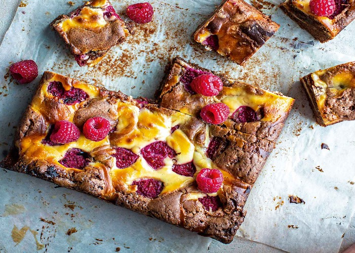 Dark and white chocolate brownies with raspberries recipe