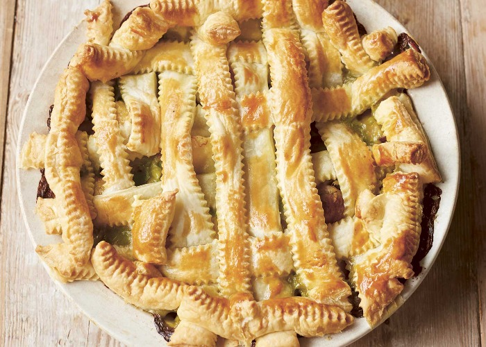 Chicken, sausage and bacon puff pie