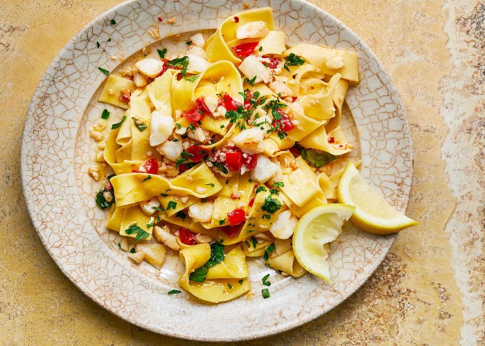 Pappardelle with cod and cherry tomatoes recipe