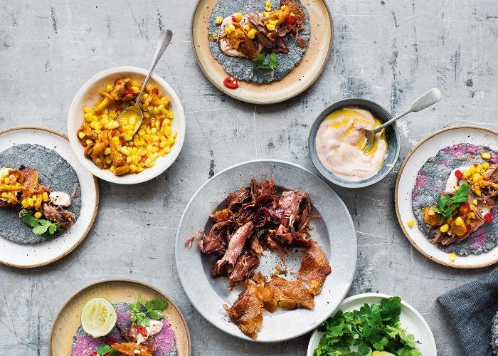 Confit duck tacos with corn & mushroom salsa recipe