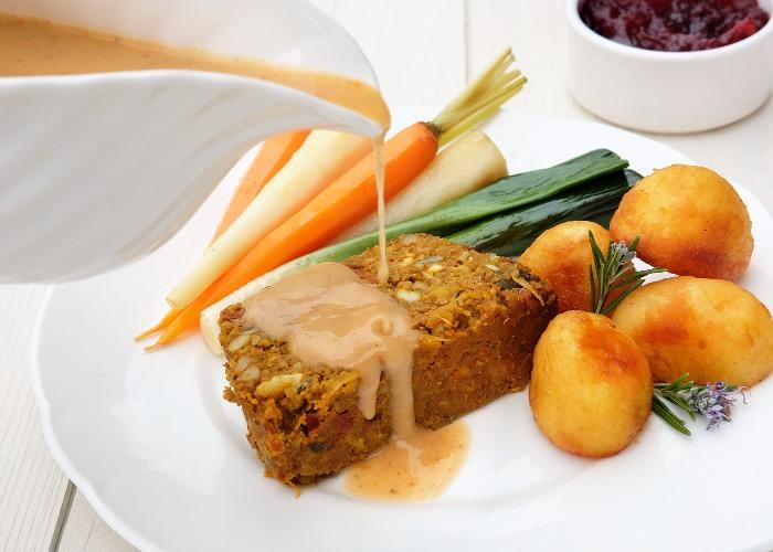 Vegetarian nut roast with vegetable gravy recipe