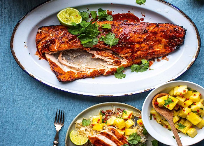 Spiced salmon with pineapple salsa recipe