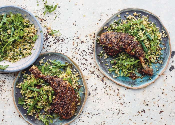 Warm maftool salad with za'atar chicken recipe