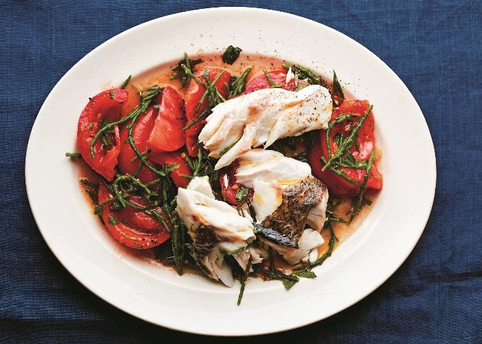 Roast hake, samphire and tomato salad recipe
