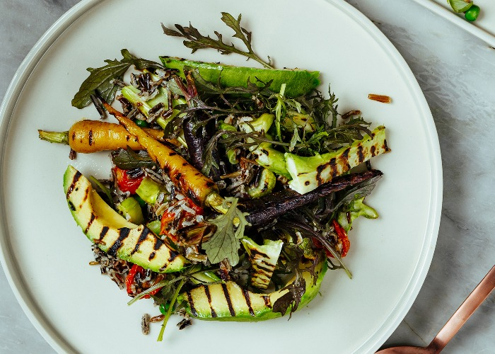 Grilled avocado salad with tahini dressing recipe