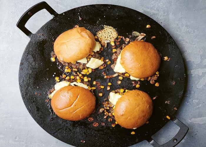 Cheddar, corn and chilli smash burgers recipe