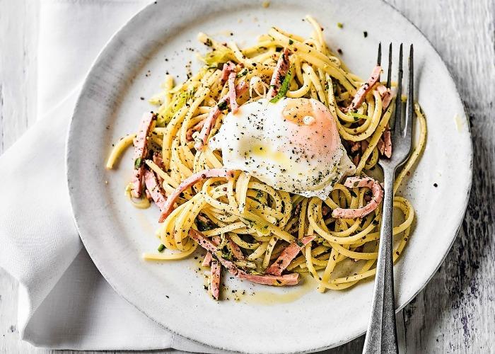 Ham and egg linguine recipe