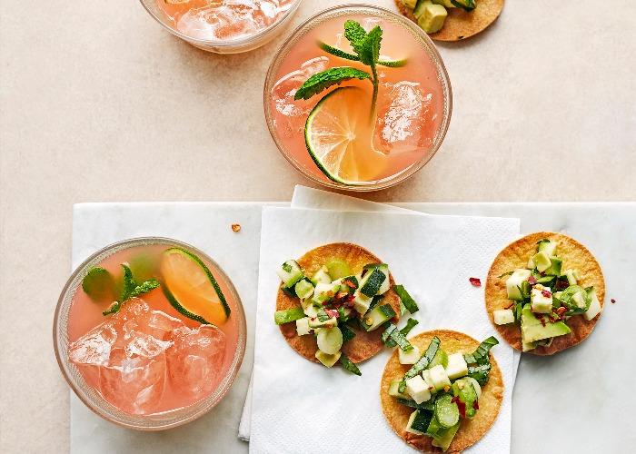 Paloma cocktail with tostadas