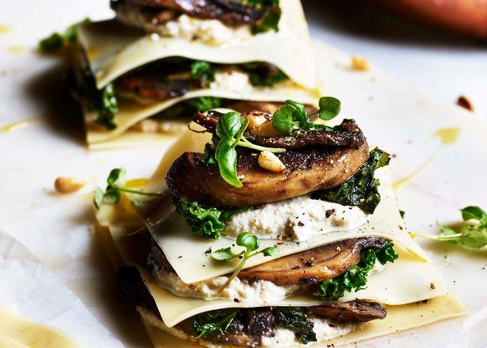Open lasagne with mushrooms recipe