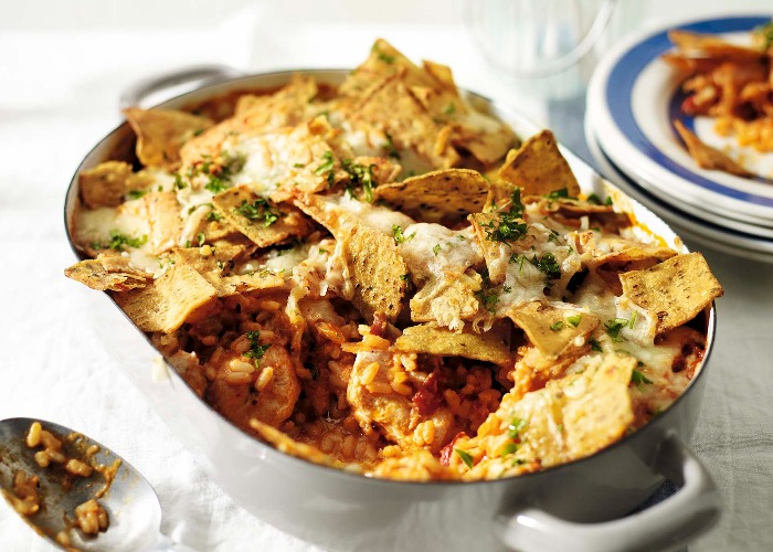 Smoky baked chicken with tortillas and rice recipe