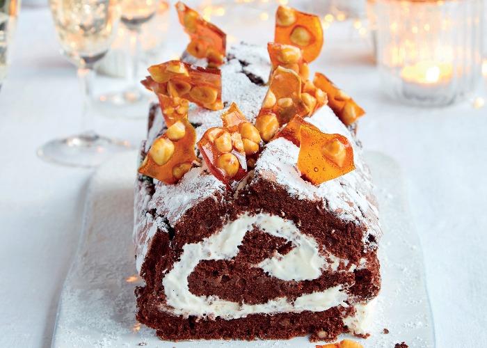 Chocolate and hazelnut boozy roulade recipe