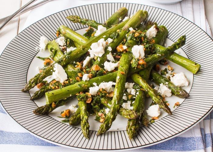 Asparagus with hazelnut gremolata recipe