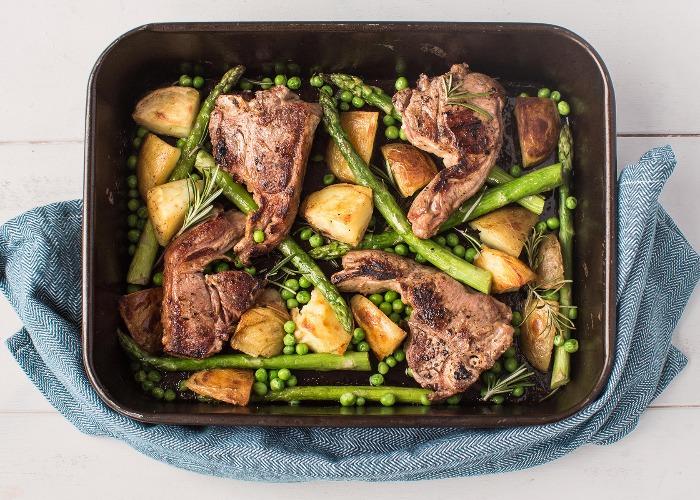Lamb chop and asparagus traybake recipe