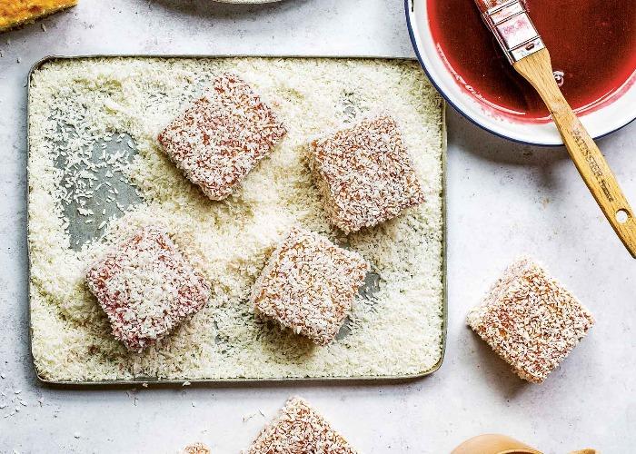 Raspberry cream lamingtons recipe