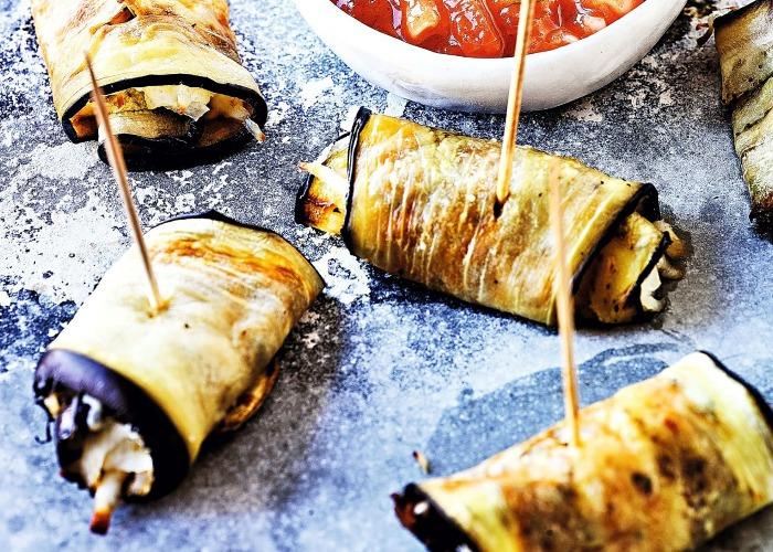 Aubergine and halloumi wraps recipe