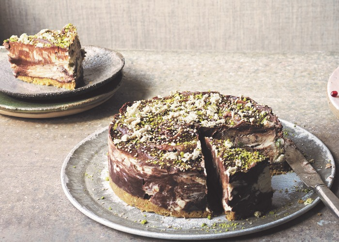 Tahina, chocolate and pistachio cheesecake recipe
