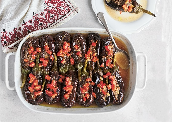 Baked aubergine with lamb recipe