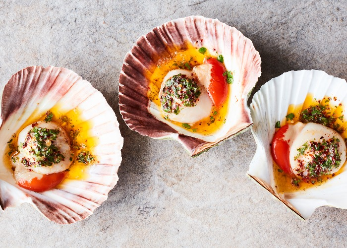 Baked scallops with chipotle butter recipe