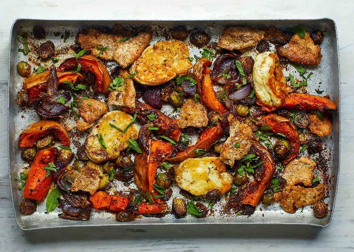 Roasted winter vegetables with baked halloumi recipe