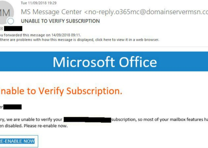 Microsoft Office 'Unable to Verify Subscription' email <b>scam</b>: how to ...